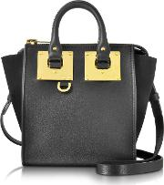 Black Leather And Suede Small Holmes North South Zip Tote