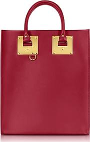 Cherry Red Saddle Leather Albion Mini Tote Bag