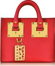 Coral Red Leather Albion Box Tote Bag