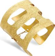 Golden Silver Etched Cut Out Small Cuff Bracelet