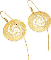 Stefano Patriarchi Earrings, Golden Silver Etched Crop Circle Round Drop Earrings