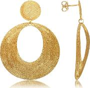 Golden Silver Etched Oval Cut Out Drop Earrings
