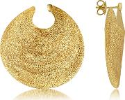 Golden Silver Etched Round Shield Drop Earrings