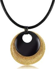 Etched Golden Silver And Onyx Round Pendant Wleather Lace