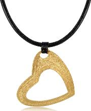 Etched Golden Silver Large Heart Pendant Wleather Lace