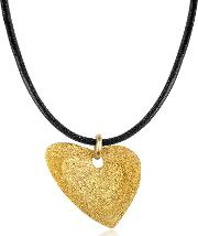 Etched Golden Silver Small Heart Pendant Wleather Lace