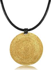 Stefano Patriarchi Necklaces, Golden Silver Etched Large Round Pendant Wleather Lace