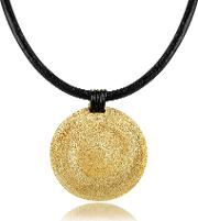 Golden Silver Etched Medium Round Pendant Wleather Lace
