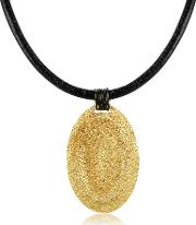 Golden Silver Etched Oval Pendant Wleather Lace