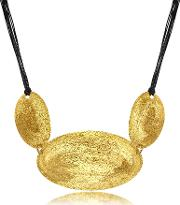 Golden Silver Etched Triple Oval Pendant Wleather Lace