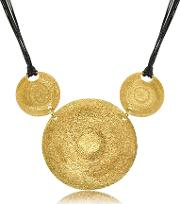 Stefano Patriarchi Necklaces, Golden Silver Etched Triple Round Pendant Wleather Lace