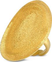 Golden Silver Etched Oval Ring