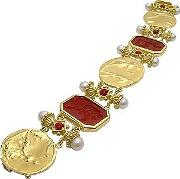 Classics Collection 18k Gold And Ruby Link Bracelet