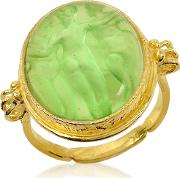Three Graces 18k Gold Green Mother Of Pearl Cameo Ring