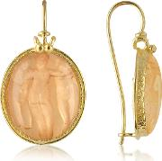 Three Graces 18k Gold Mother Of Pearl Cameo Earrings