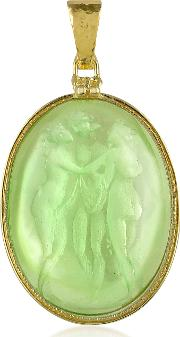 Three Graces 18k Gold Mother Of Pearl Cameo Pendant