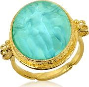 Three Graces 18k Gold Turquoise Mother Of Pearl Cameo Ring