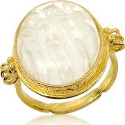 Three Graces 18k Gold White Mother Of Pearl Cameo Ring
