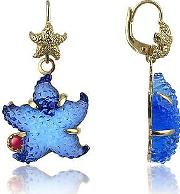 Tagliamonte Earrings, Marina Collection Blue Starfish Rubie & 18k Gold Earrings