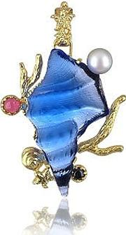 Tagliamonte Necklaces, Marina Collection Blue Seashell Tourmaline & 18k Gold Pendant
