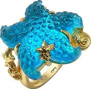 Marina Collection Blue Starfish 18k Gold Ring