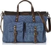 Carver D Canvas And Leather Men's Tote Bag