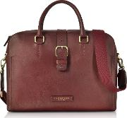 Leather Double Handle Briefcase Wdetachable Shoulder Strap