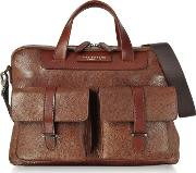 Brown Leather Double Handle Briefcase Wtwo Front Pockets