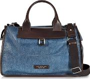 Urban Blue And Brown Leather Travel Bag
