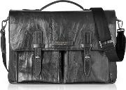 Washed Calf Leather Briefcase Wshoulder Strap
