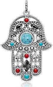 Blackened Sterling Silver Hand Of Fatima Pendant Wturquoise And Zirconia