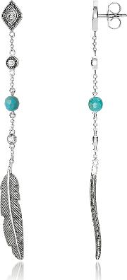 Blackened Sterling Silver Long Feather Earrings Wwhite Cubic Zirconia And Turquoise