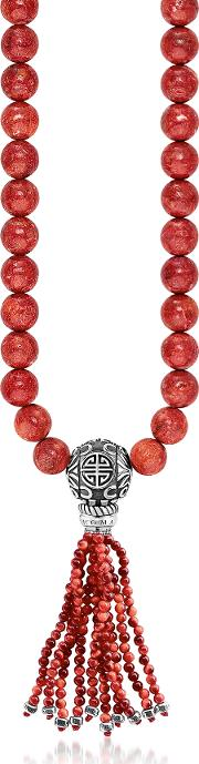Power Necklace Red Sterling Silver And Coral Beads Long Necklace Wtassel