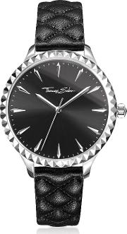 Rebel At Heart Silver Stainless Steel And Black Quilted Leather Strap Women's Watch Wblack Dial