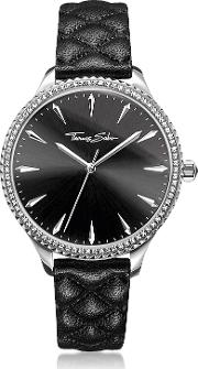 Rebel At Heart Silver Stainless Steel And Black Quilted Leather Strap Women's Watch Wcrystals