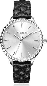 Rebel At Heart Silver Stainless Steel Women's Watch Wblack Quilted Leather Strap