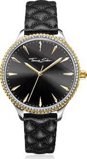 Rebel At Heart Two Tone Stainless Steel And Black Quilted Leather Strap Women's Watch Wcrystals