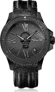 Rebel Icon Black Stainless Steel Men's Watch Wleather Strap