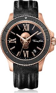 Rebel Icon Rose Gold Stainless Steel Men's Watch Wblack Leather Strap