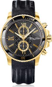 Rebel Race Gold Stainless Steel Men's Chronograph Watch Wblack Leather Strap