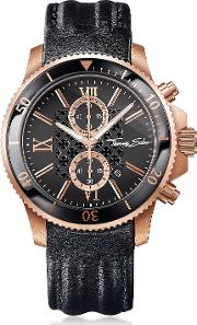 Rebel Race Rose Gold Stainless Steel Men's Chronograph Watch Wblack Leather Strap