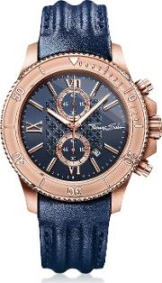 Rebel Race Rose Gold Stainless Steel Men's Chronograph Watch Wblue Leather Strap