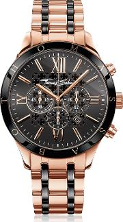 Rebel Urban Rose Gold Stainless Steel And Black Ceramic Men's Chronograph Watch