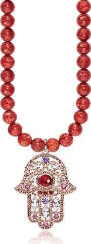Rose Gold Plated Sterling Hand Of Fatima And Red Coral Long Necklace Wpink Zirconia