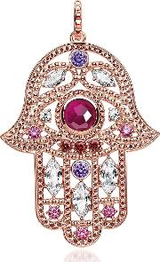 Rose Gold Plated Sterling Hand Of Fatima Pendant Wpink Zirconia