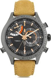 Chrono Timer Gray Stainless Steel Case And Tan Leather Strap Men's Watch