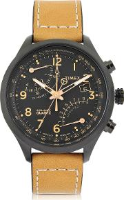 Timex Men's Watches, Fly Back Chrono Black Stainless Steel Case And Tan Leather Strap Men's Watch