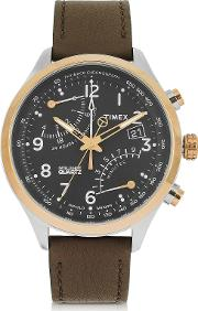 Fly Back Chrono Stainless Steel Case And Leather Strap Men's Watch