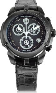 Shield Lady Black Stainless Steel And Black Croco Print Leather Chronograph Watch