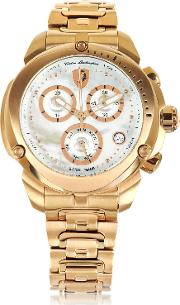 Shield Lady Rose Gold Tone Stainless Steel Chronograph Watch